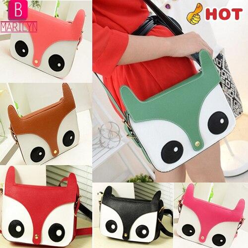 Moda Retro animais coruja bolsas de ombro embreagens dos desenhos animados Fox imprimir Flap Messenger Bag C028