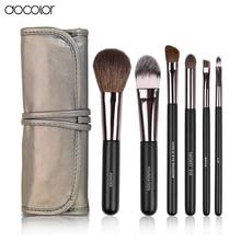 Docolor Make up Brushes  6pcs Set  with leather case With free brush clean  powder foundation eyeshadow eyebrow  lip brushes