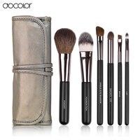 Docolor Make Up Brushes 6pcs Set With Leather Case With Free Brush Clean Powder Foundation Eyeshadow