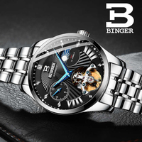 스위스 시계 남자 binger 자동 기계 남자 시계 럭셔리 브랜드 사파이어 gmt 남자 손목 시계 방수 B-1186-18