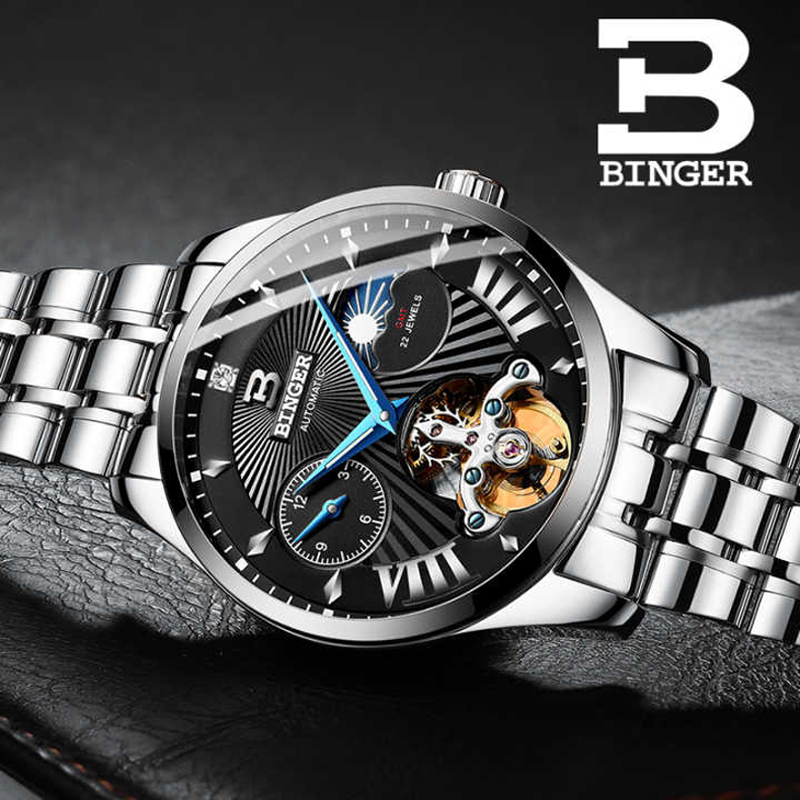 Switzerland Watch Men Binger Automatic Mechanical Men Watches Luxury Brand Sapphire GMT Men Wrist Watch Waterproof B-1186-18Switzerland Watch Men Binger Automatic Mechanical Men Watches Luxury Brand Sapphire GMT Men Wrist Watch Waterproof B-1186-18
