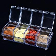 4pcs/set Kitchen Organizer Storage Boxes Spices Seasoning Jar Transparent Sugar Salt Bottle Kitchen Accessories