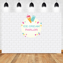 White Brick Wall Backdrop Ice Cream Parlor Birthday Party Photography Background Baby Shower Dessert Table Decorations Props