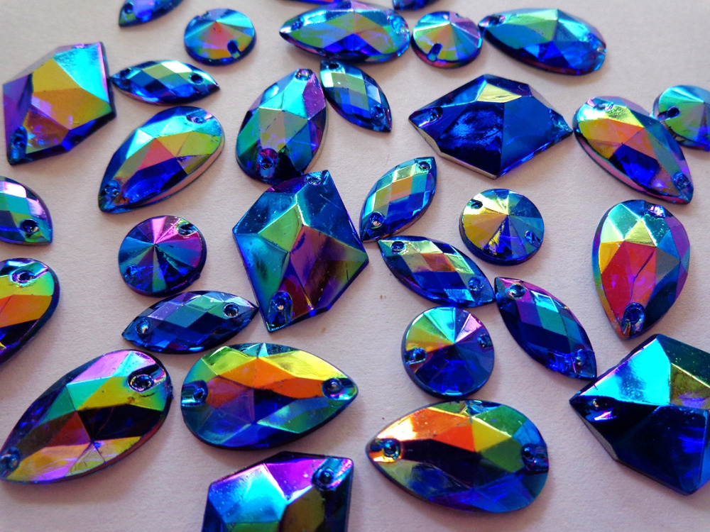 Big Promotion 300pcs  Mixed Shape Size  Sew On Rhinestones Deep Blue  AB Colour Acrylic Crystal  Loose Beads Hand Sewing Strass