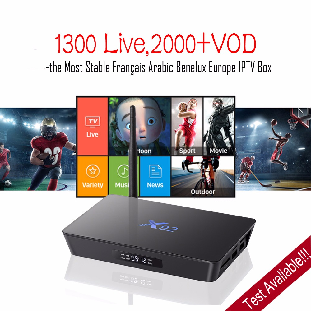 X92 Android TV Box with Arabic French Benelux IPTV Subscription 1 Year WEINTV IPTV Better than QHDTV NEOTV 1300 channel,2000 VOD