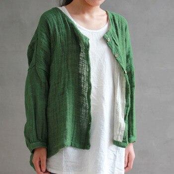 Autumn 2017 New Solid Color Women Vintage Cotton Linen Shirt Long Sleeve Round Neck Loose Plus Size Irregular Cardigan Shirt Рубашка