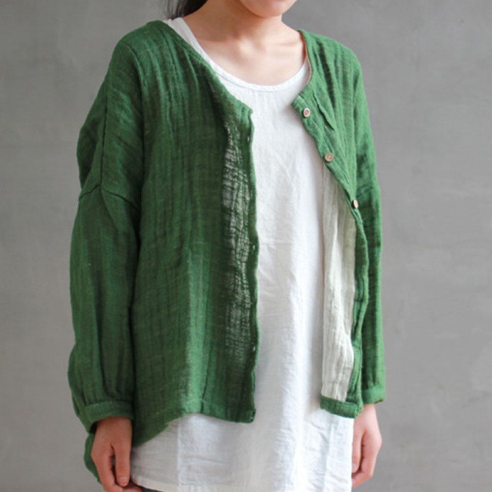 Autumn 2018 New Solid Color Women Vintage Cotton Linen Shirt Long Sleeve Round Neck Loose Plus Size Irregular Cardigan Shirt