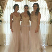 Sheer Tulle Elegant Bridesmaid Dresses 2017 Sequin Appliques V neck Long Party Dress for Weddings Brides Maid Gowns madrinha