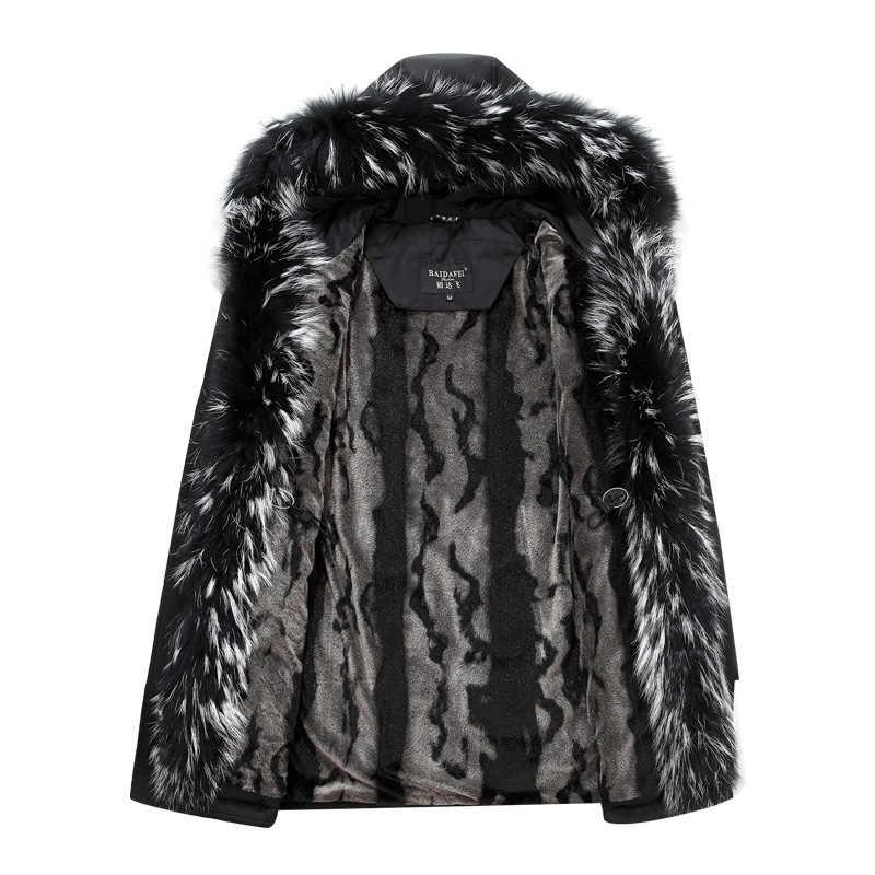 Chaqueta de invierno 2018 chaqueta de abrigo para hombre con capucha de piel Parka extraíble para hombre chaqueta de plumón masculina talla grande 4XL 5XL