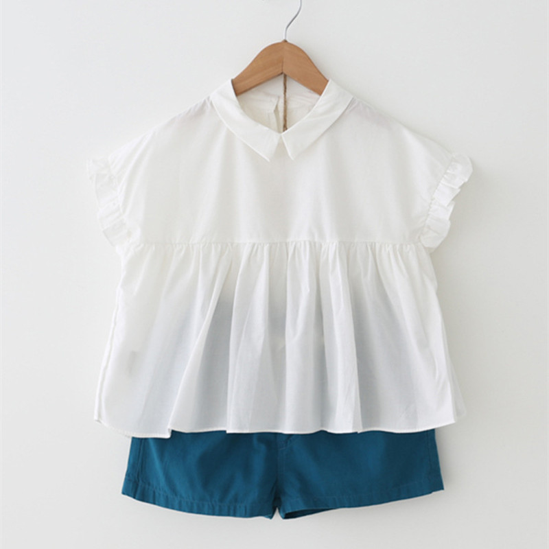 DFXD 2018 Summer Korean Style Toddler Girls Clothes White Short Petal Sleeve Turn Down C ...