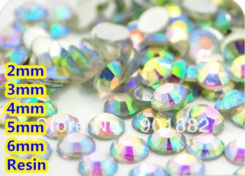 Facetas de Resina de Volta Plana de Cristal Rhinestone 4mm 5mm 6mm Nail Art Gemas Decoração ab Cor 2mm 3mm