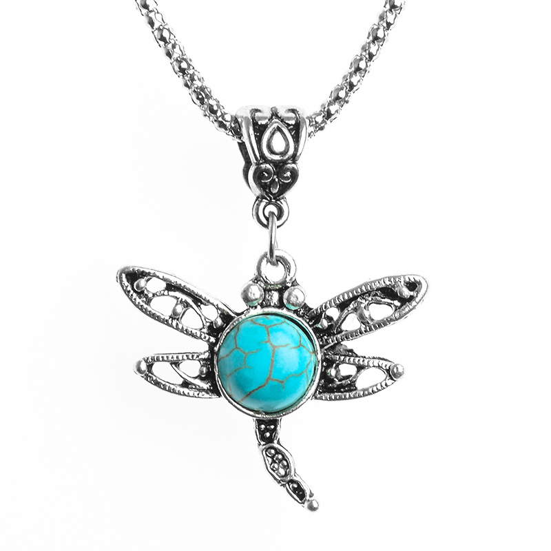 Vintage Hollow Sweater Chain Cute Dragonfly Antique Silver Necklace Stone Pendant For Women Fine Jewerly New Fashion