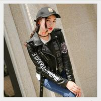 Lapel Punk Party Letter Printing PU Leather Jacket printed Hip pop motorcyle Rock Coat zipper print eyes bomber streetwear