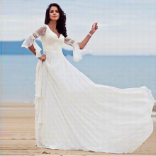 Women Vestidos Noiva 2015 Free Shipping A Line Chiffon Wedding Dress Country Western