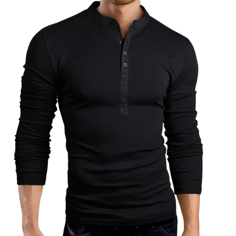 QINGYU Male Long Sleeve T-Shirt Tops Mens T Shirts