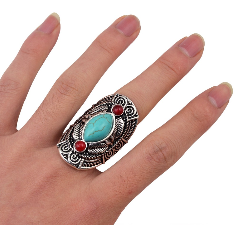 Bohemian style tibet silver design red natural turquoise gem stone big beachy boho joint fashion rings for women jewelry