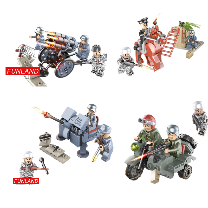 World War Repack Maneuver Raid  Army Forces Minifigs Block Ww2 Military Brickmania Figures Horse Artillery Motorcycle Brick Toys