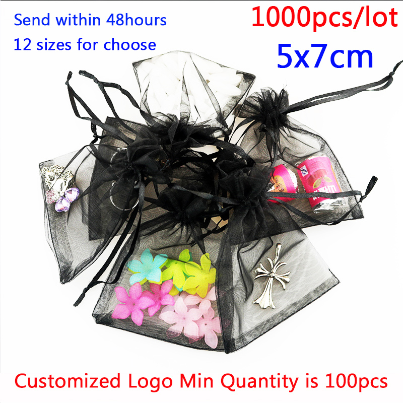 1000pcs 5x7 9x12 11x16 13x18cm Organza Bags Jewelry Packaging Bags Wedding Party Decoration Favors Drawable Gift
