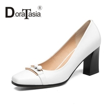 DoraTasia 2017 eourpean style full grain leather Slip On Women Pumps sexy Square toe High Heels Wedding Party Shoes
