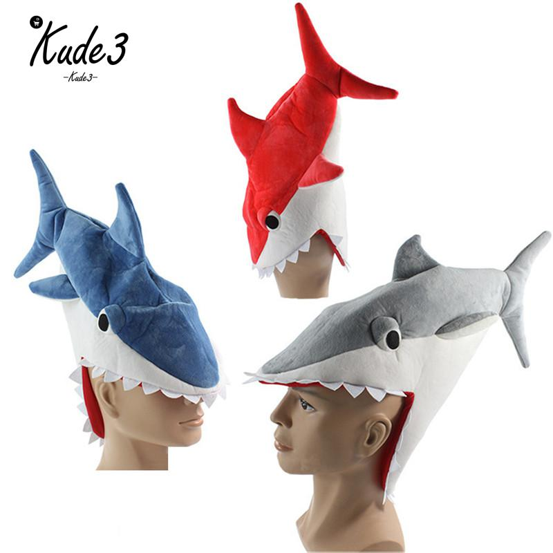 Plush Shark Hat Funny  Halloween Festival Party Creative Stereoscopic Eat Human Shark Mardi Gras Party Costume Hat Blue Gray Red