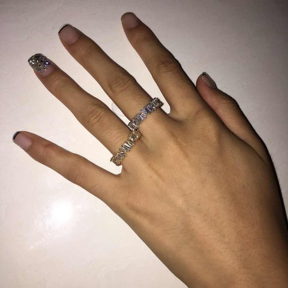 Tipis Baguette T Cincin Pertunangan Buatan Tangan Rainbow Trapesium Batu Cincin untuk Wanita Fashion Jari Aksesoris Anel Pernikahan