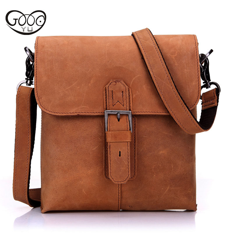 New men's Draw buckle shoulder bags oblique cross-package vertical section first layer of leather men Soft Cover messenger bags qiaobao 2018 new korean version of the first layer of women s leather packet messenger bag female shoulder diagonal cross bag