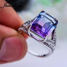 Rainbow Crystal Wedding Rings For Women Big Geometric Rectangle Ring Purple Blue Stone