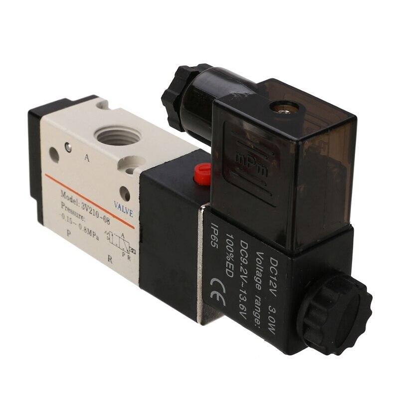 Dc12v 1/4 3 Weg 2 Position Pneumatische Ventil Aluminium Elektrische Magnetische Magnetventil Air Gas Ventil Werkzeuge Heimwerker Ventil