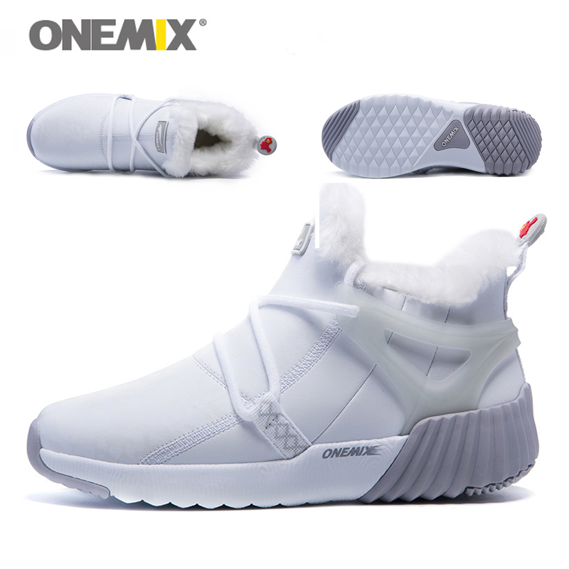 ONEMIX New Winter Men's Boots Warm Wool Sneakers Outdoor Unisex Athletic Sport Shoes Comfortable Running Shoes Sales 16