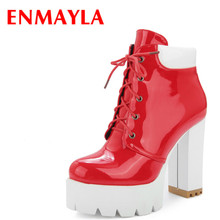 Airfour New Lace-up High-top Platform  Shoes Woman High Heels Ankle Boots for Women Red Black Round Toe Martin Boots women high heels black genuine leather ankle lace up shoes woman high heels round toe autumn womans shoes yl02 muyisexi