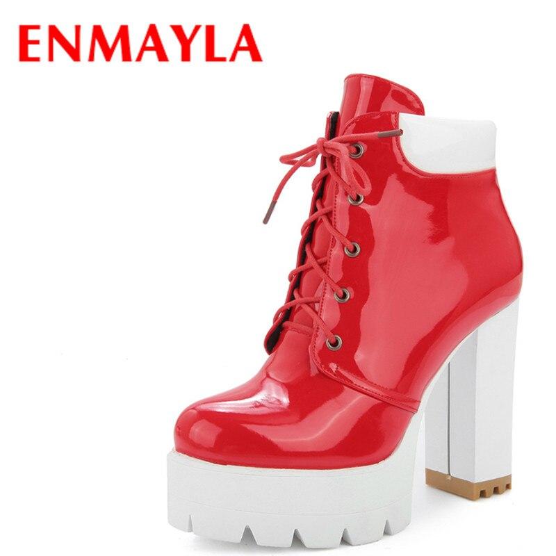 Chaussures Femme Courtes Hauts Haut Rouge dessus forme Bout rouge Pour Bottines Noir Plate Lacets Talons Couleurs Mélangées Femmes À Noir Rond Enmayla qYHpII