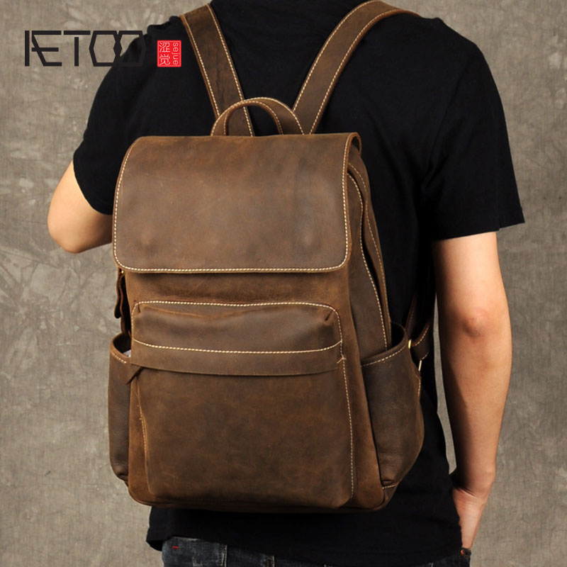 AETOO The Crazy Horse Leather Backpack backpack retro casual male leather travel bag simple tide aetoo retro leatherbackpack bag male backpack fashion trend new leather travel bag