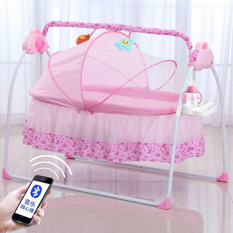 Berceau Mental électrique nouveau-né Portable pliable multifonction nouveau lit de couffin de bébé avec réglage multi-gamme de musique