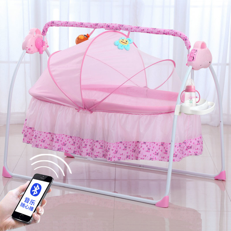 Multifunction Foldable Portable Newborn Electric Mental Cradle New Baby Bassinet Bed With Music Multi-range Adjustment