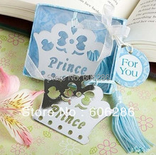 100pcslot blue color prince crown bookmark with silk tassel baby shower return gifts or