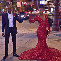 Sexy Long Sleeves Evening Gown Sequin Deep V Neck Court Train Floor Length Modest Wedding Party Dress