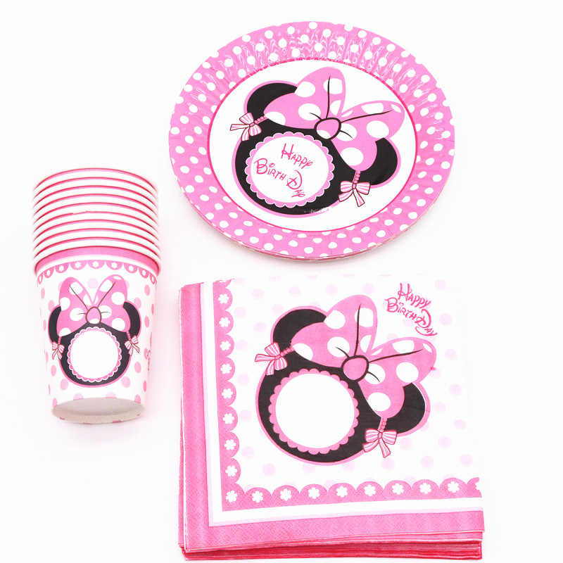 40Pcs/lot Minnie Mouse Party Decorations Plates Cups Tableware Baby Shower Birthday Party Decorations For Kids Party Supplies