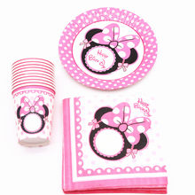 40Pcs/lot Minnie Mouse Party Decorations Plates Cups Tableware Baby Shower Birthday Party Decorations For Kids Party Supplies(China)