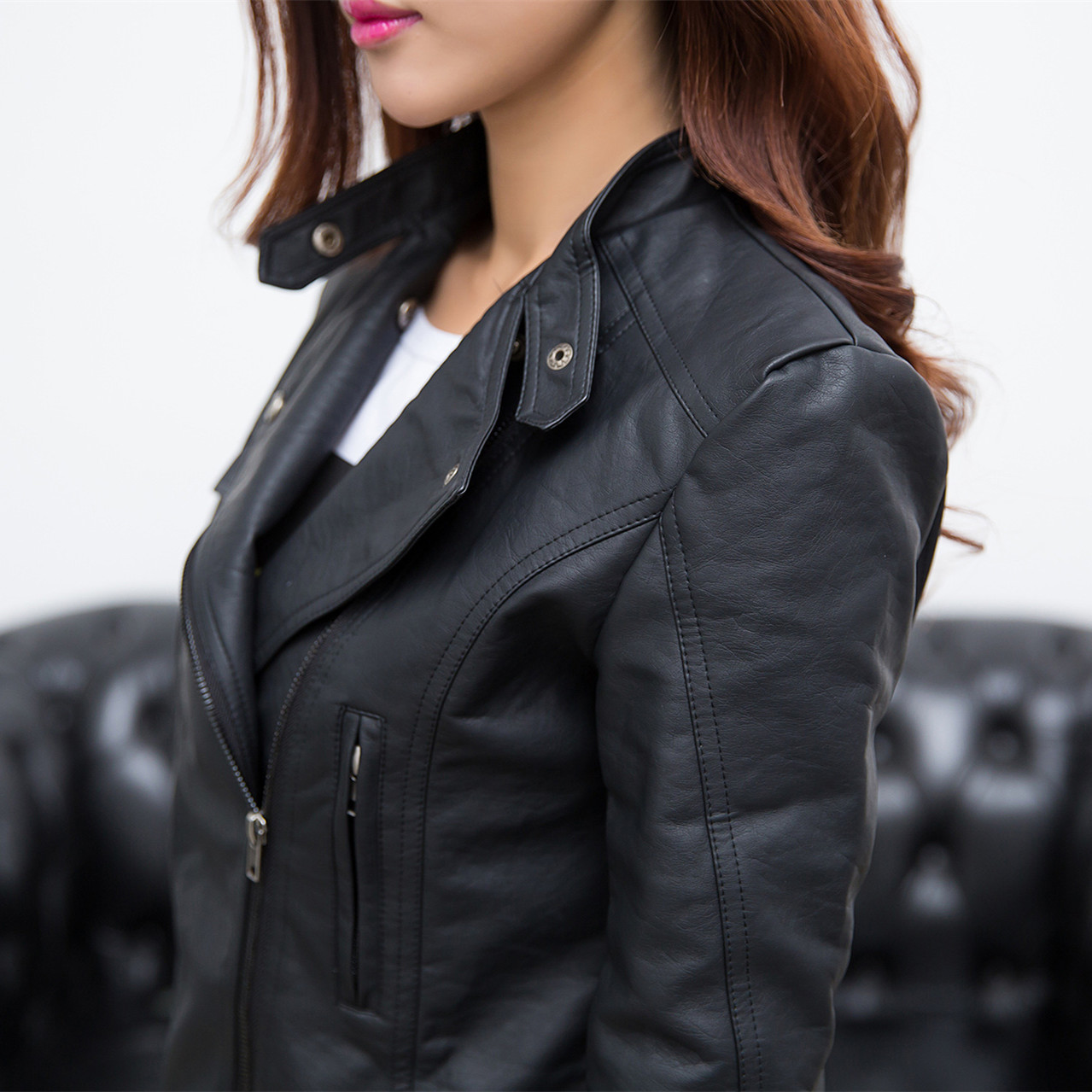 7b4233b6a08f Women Leather Jacket With Bulk Classic Black Girls Motorcycle Biker Jacket  2015 Fashion New Plus Size Free Shipping-in Leather   Suede from Women s  Clothing ...