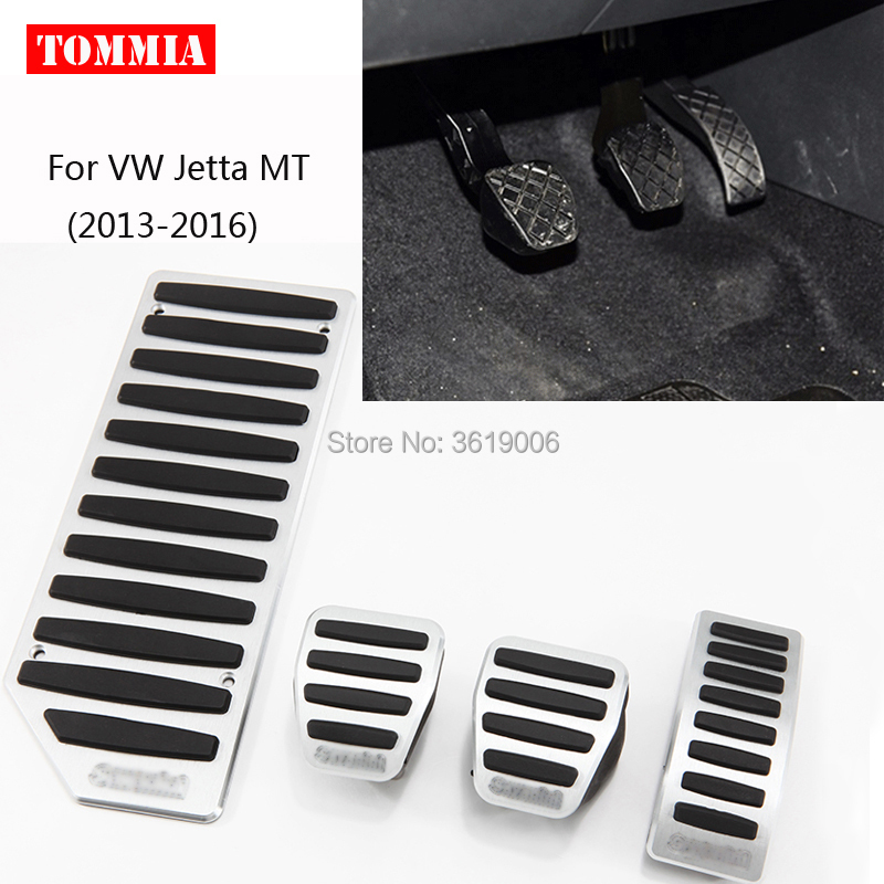 tommia Aluminum Footrest Gas Brake Pedals Pad kit For VW Jetta AT MT 2013-2017 no drilling cool design styling