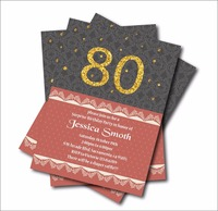 20 Pcs Lot 80th Birthday Invitations Adult 30th 40th 50th 60th 70th 90th Invites