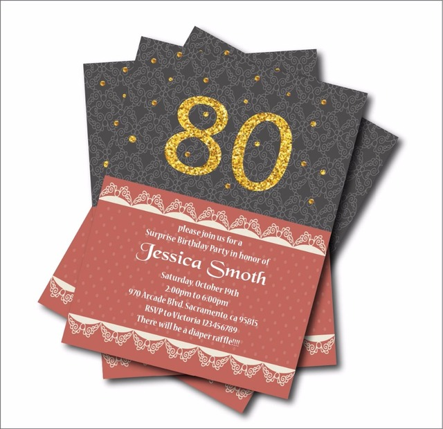 20 Pcs Lot 80th Birthday Invitations Adult 30th 40th 50th 60th 70th 90th Invites Party Decoration Supply Free Shipping
