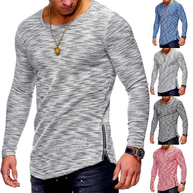 Oeak Lente Sexy Lange Mouw T-shirt Mannen Mode Fitness Zweet Man Tees Casual Loose Solid Tops Plus Size Bodybuilding Slim