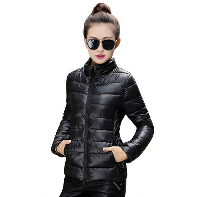Женщины Осень Зима Теплая Ультра Легкий Хлопок Blend С Длинным Рукавом Молнию Куртки И Пиджаки Пальто