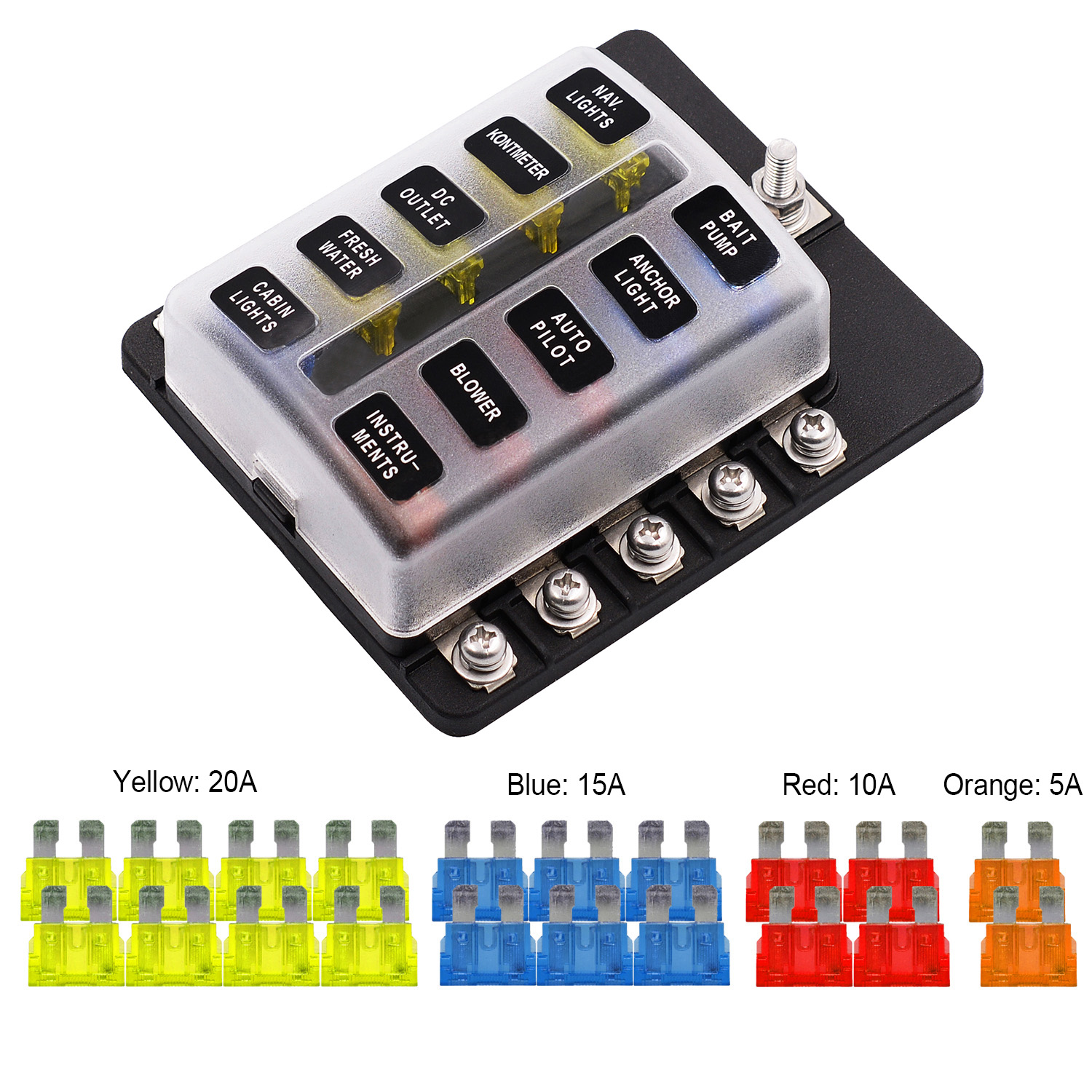 Automotive 10 Way Circuit Car Fuse Box Waterproof 32V Screw Terminal Fuse Box Block Red LED Indicates 5A 10A 15A 20A Auto Holder