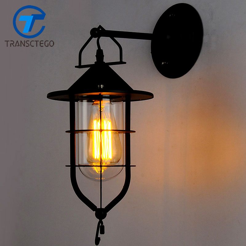 American industrial style Wall Lamp country retro dock iron bar Coffee corridor balcony light outdoor wall lamps american country style industrial wall lamp retro bar bedroom pulley light fixtures stairs wall lamp