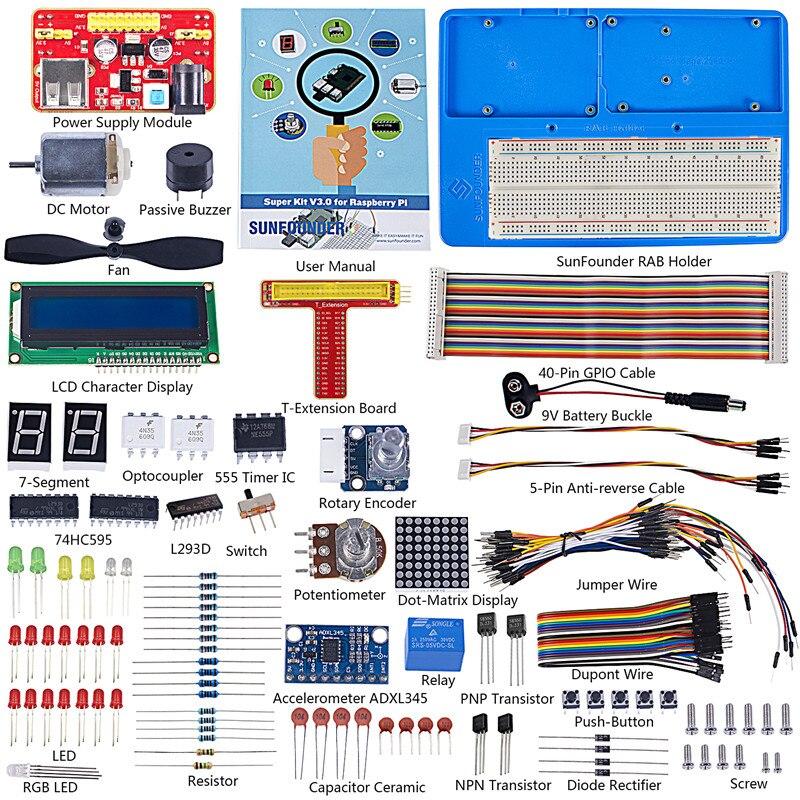 Kit d'apprentissage Super Starter sunfondateur V3.0 pour Raspberry Pi 3 modèle B + 3B, 2B B + A + zéro et carnet d'instructions de 123 pages