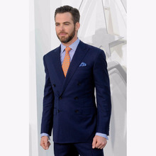 Elegant Navy Blue Men Suits Double Breasted Tuxedos For Men To Party Prom Celebrity Occasion Mens Wedding Suit Blazer With Pants
