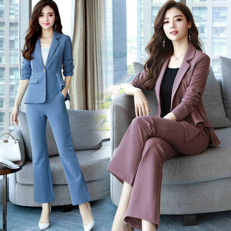 New Arrival 2019 Spring Fashion Solid Color Yellow Full Suits Women Office Lady Dress Slim Fit Suis With Belt Blazer+pants Txf5 Women's Clothing Pant Suits