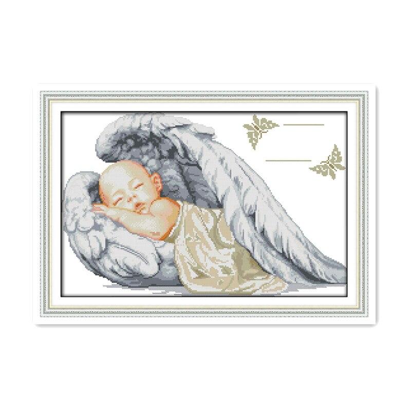 Angel newborn baby born sleeping baby boy handmade sewing embroidery cross stitch suite 11CT 14CT decorative painting